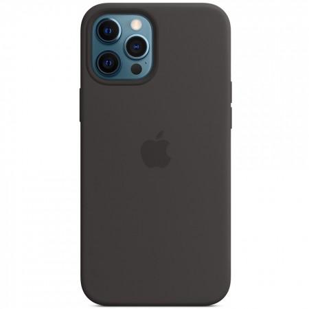 Чехол Silicone case (AAA) full with Magsafe для Apple iPhone 12 Pro Max (6.7'') Черный (15158)