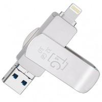 Флеш-драйв T&G 007 Metal series USB 3.0 - Lightning - MicroUSB 32GB Серебристый (22768)