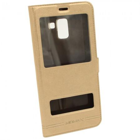Чехол-книжка для Samsung A8 Plus A730f Momax Золотой (3776)